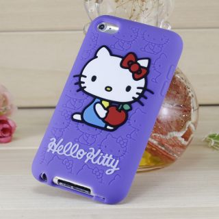 iPod Touch 4 4th Generation Hello Kitty Silicone Rubber Case Purple