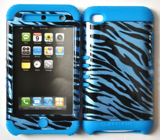SILICONE RUBBER + COVER CASE SKIN FOR IPOD TOUCH 4 BLUE ZEBRA PRINT