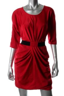 BCBG MAXAZRIA New Iselin Red Draped Skirt Fitted Short Cocktail Dress