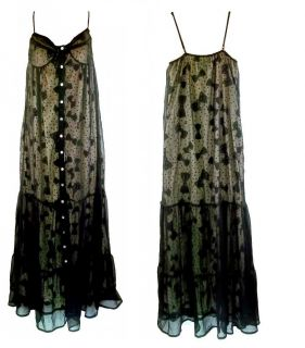 IRON FIST Black White Bowed Over Maxi Dress Sheer Tier Lace Polka Goth