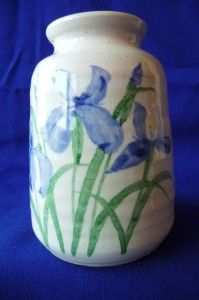Cream Embossed Vase Pottery Blue Iris Neher 1991 USA