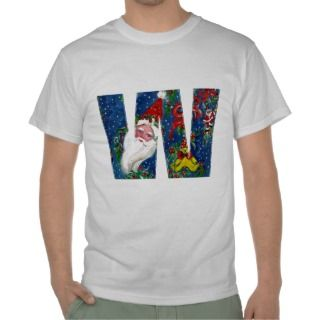 CHRISTMAS W LETTER / SANTA CLAUS WITH RED RIBBON T SHIRT