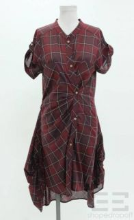 Isabel Marant Maroon Black Cotton Plaid Button Front Dress