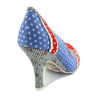 Irregular Choice Patty Womens Fabric Union Jack Heels Blue Red White
