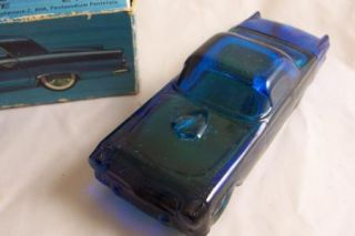 Avon Blue Glass 55 Thunderbird Decanter Deep Woods After Shave Full