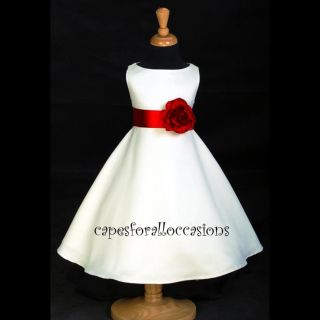 Ivory Cherry Apple Red Flower Girl Dress Pageant Dancing 12M 2 3 4 6 8