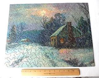 Vintage Tuco Puzzle Winter Cabin Snow Scene Thick Pieces