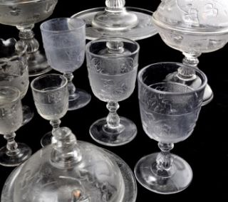 EAPG c1898 Co Op Flint Glass Ivy in Snow 40pc Set Lot