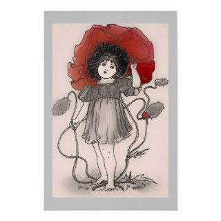 Impresión del poster del chica de la amapola del v de