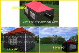 Pop Up EZ Party Tent Canopy   3 Sizes   10x10 10x15 or 10x20 Red