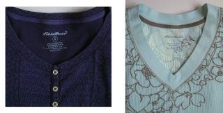 TWO Womens EDDIE BAUER Floral Print Thermal Top Shirt LKNU Henley