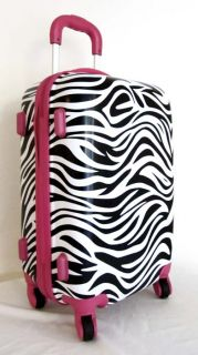 PC Luggage Set Hard Rolling 4 Wheels Spinner Upright Travel Zebra