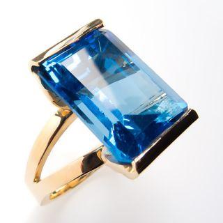Huge 18 Carat Genuine Blue Topaz Cocktail Ring Solid 14K Gold Estate