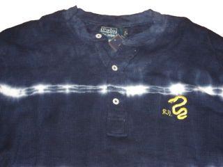 Ralph Lauren Polo Blue Tie Dye Snake Henley Shirt XXL