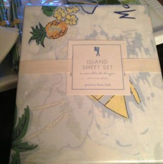 New Pottery Barn Kids Blue Island Surf Patchwork Twin Sheet Set