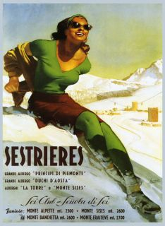 LADY Girl in Green Italian Italy Sestrieres Ski Aosta Travel Poster