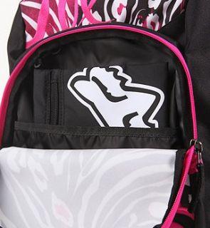 New Fox Racing Hot Pink Zebra Backpack Laptop Bag Purse