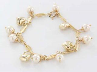 14k Yellow Gold Heart Pearl Charm Bracelet Fine Italian Jewelry
