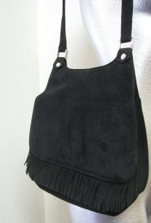 Renee Handbag Black Suede Shoulder Bag Short Fringe