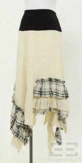 Ivan Grundahl Cream Black Woven Wool Plaid Tiered Ruffle Skirt Size 40