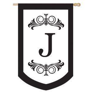 Letter J Regalia Monogram Decorative Large House Flag