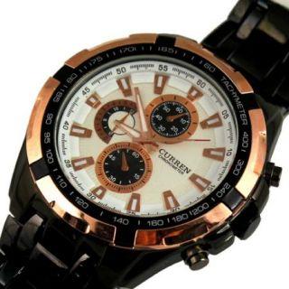 New Good Hours Clock Sport Men Fashion Silver Golden Steel Wrist Watch