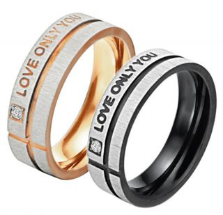 Titanium Steel Promise Ring Love Couple Wedding Bands Gift J41