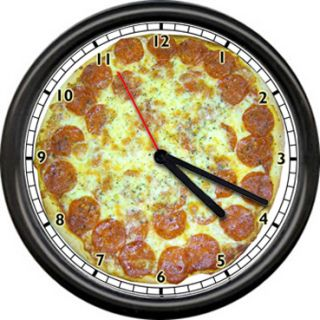 Pepperoni Pizza Pizzeria Shop Italian Restaurant Deli Sign Wall Clock