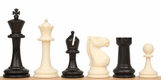 Master Series Plastic Chess Set in Black Ivory 3 75