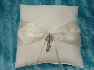 Rhinestone Key to Your Heart Ivory Ring Bearer Pillow