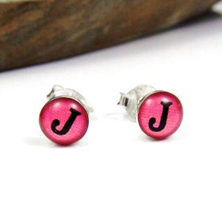 Enamel Initial Letter J 925 Silver Stud Earrings
