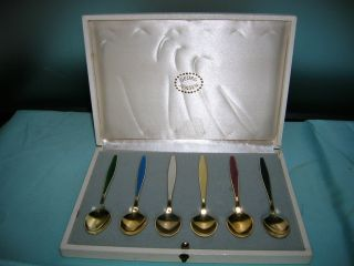 GEORG JENSEN STERLING GOLD ENAMEL DEMITASSE COFFEE SPOONS SET & BOX