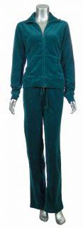 Sutton Studio Womens Cotton Blend Lounge Jacket Pant Velour Track Suit