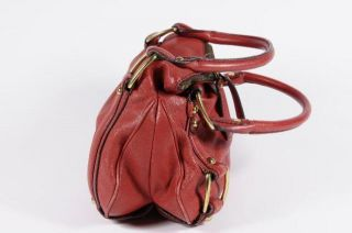 Banana Republic Red Leather Soho Tote Shoulder Bag Handbag Purse Brass