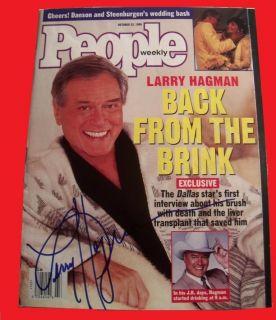 Autograph Larry Hagman Signed 1995 People Mag Dallas J R Ewing