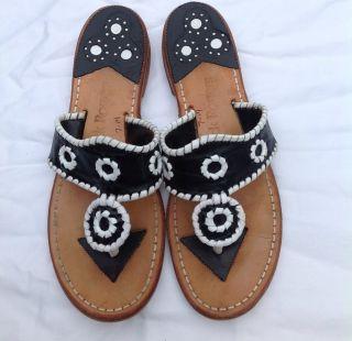 Jack Rogers Black Navajo Flats Sandals Shoes 7 M