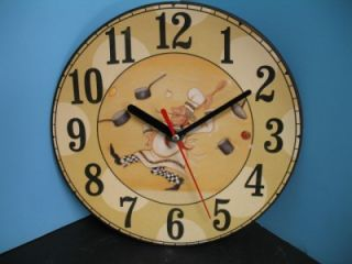 Fat Chef Wall Clock Home Decor Kitchen Bistro Bar Waiter Set New 2