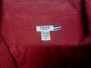 IZOD Woman Ladies Red Corduroy Peacoat Jacket Coat Sz 2X
