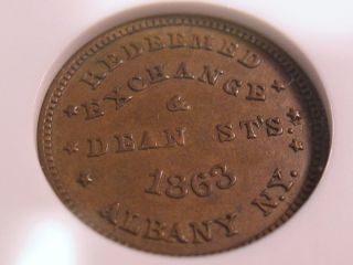 1864 Civil War Store Card Token Albany NY J Thomas AU58