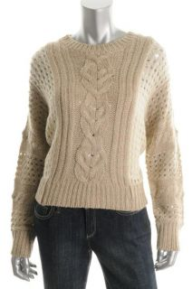 Aqua New Tan Stitch Detail Cable Knit Ribbed Trim Crew Neck Pullover