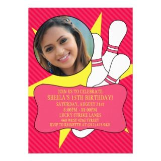 Sunny Yellow Pin Party Bowling Birthday Party Personalized Invite