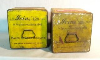 Pair of Antique Ivins Bakery Lunch Box Advertising Tins Great Grafics