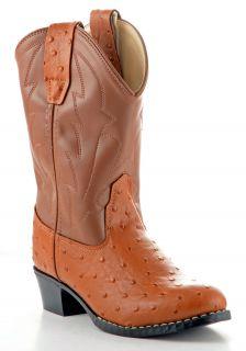 Old West Boys Ostrich Print Western Boots OJ9117