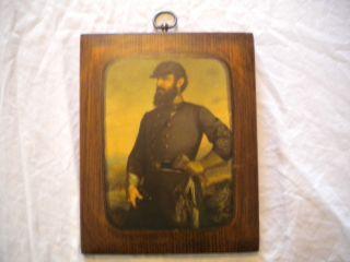 Vintage General T J Stonewall Jackson Print on Wood Civil War Corcoran