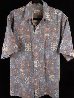 Reyn Spooner Mens Camp Aloha SS Cotton Reverse Print Hawaiian Shirt