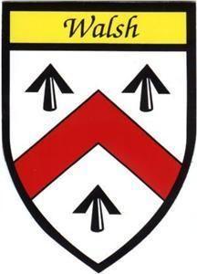 Walsh Irish Family Heraldic Coat Arms Car Sticker