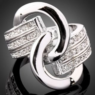 ARINNA Swarovski Crystal White GP Belt Fashion Rings