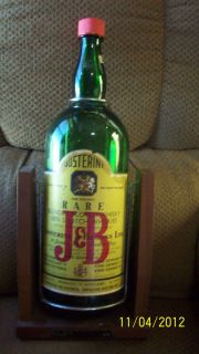 Vintage J&B Scotch Whiskey Large Green Glass Bottle Decanter W/ Wooden