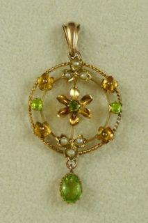 Victorian Murrle Bennett Co Peridot Pearl Beautiful Gold Pendant