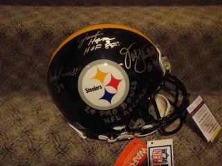 Steelers Jack Lambert Jack Ham and Andy Russell Signed Proline Helmet